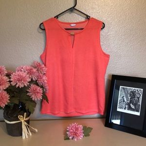 Calvin Klein Coral Sleeveless Top with Gold accent